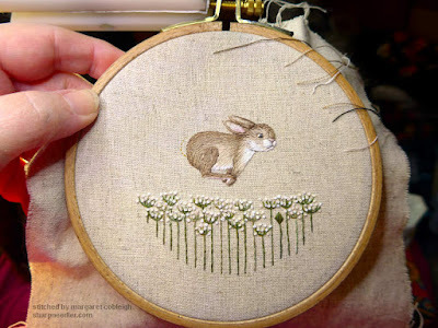 Embroidered pinwheel front--hare and flowers--from Jenny McWhinney's Queen Anne's Lace