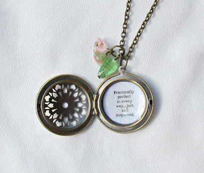 image mary poppins locket necklace quote literature practically perfect in every way just as i suspected bookish handmade jewellery jewelry two cheeky monkeys