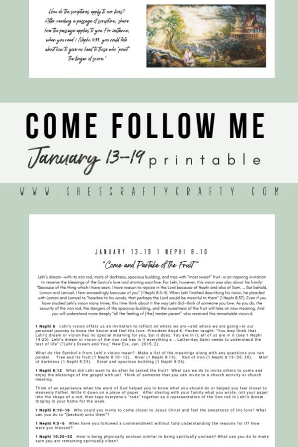 Come Follow Me January 13-19 free printable  |  Download, Print and Hang this printable in an area of your home that is easily seem by everyone  |   She's Crafty
