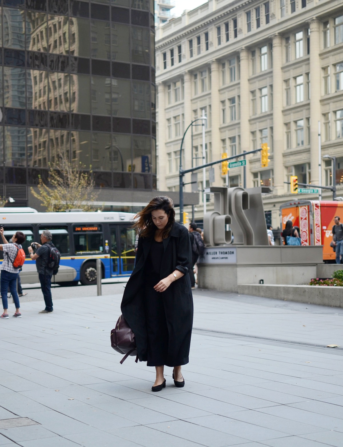 Aritzia Babaton coat Geox midi heels Gap wide leg crop vancouver fashion blogger Longines La Grande Classique watch