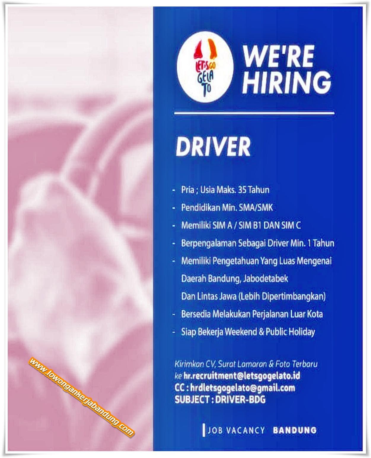 Lowongan Kerja Bandung Driver Lets Go Gelato Lowongan Kerja Bandung Lowongankerjabandung Com