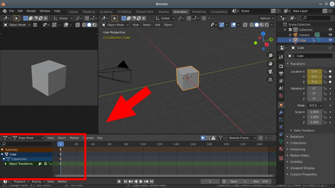 Mudanças no Dope Sheet após a criação de Key Frames