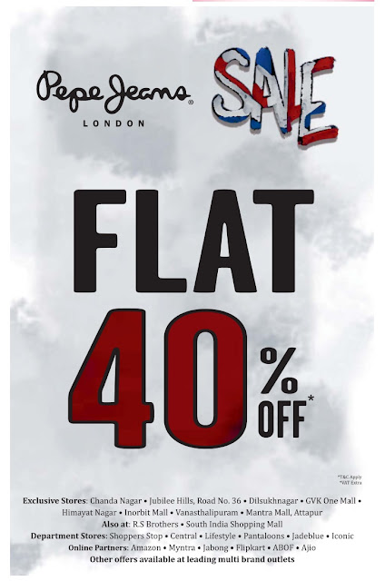 Pepe Jeans flat 50% off Sale | January 2017 discount offers