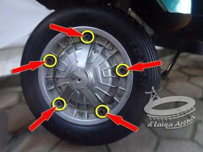 lepas mur pengunci dan penyanggah cover roda