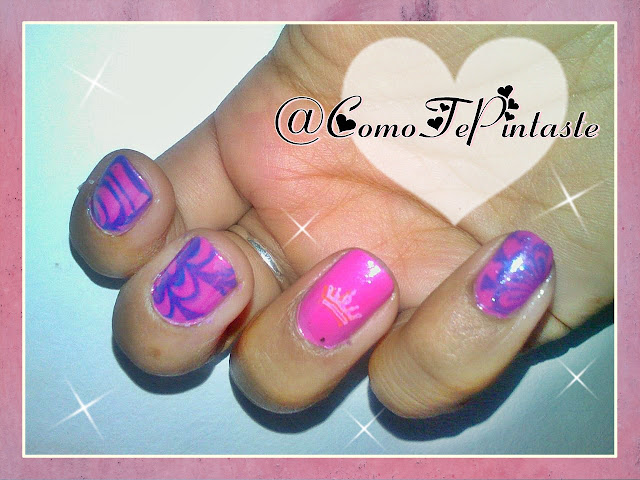 stamping watermarble pink and blue