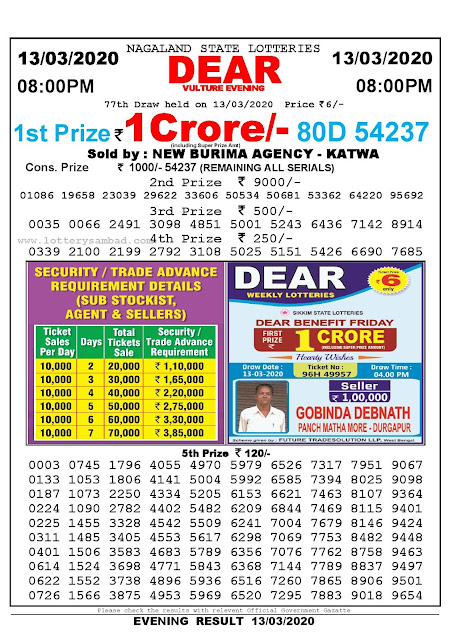 Lottery Sambad Result 13.03.2020 Dear Vulture Evening 8:00 pm