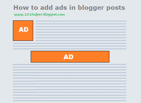 how to add ads inside blogspot posts