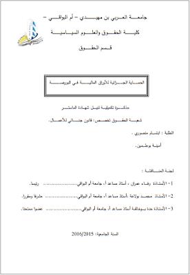 مذكرة ماستر: الحماية الجزائية للأوراق المالية في البورصة PDF