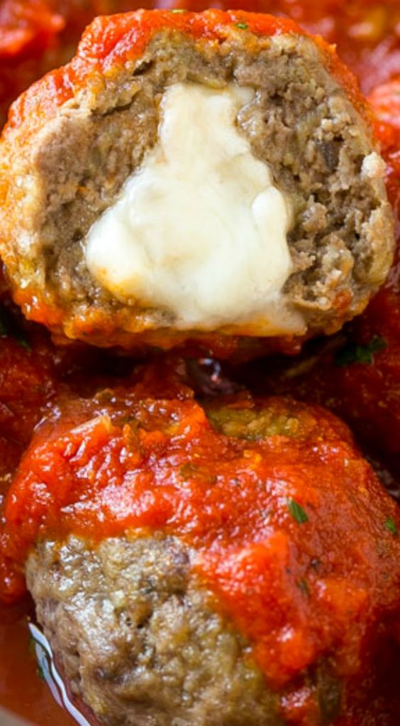 Mozzarella Stuffed Meatballs are a fun twist on the classic recipe – serve these meatballs as a party appetizer or over a big plate of spaghetti for a hearty meal!