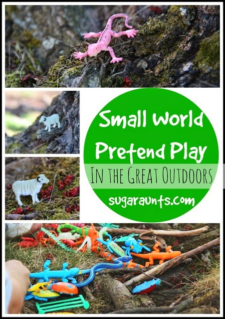Inspire pretend play and imagination with small world play in the outdoors.