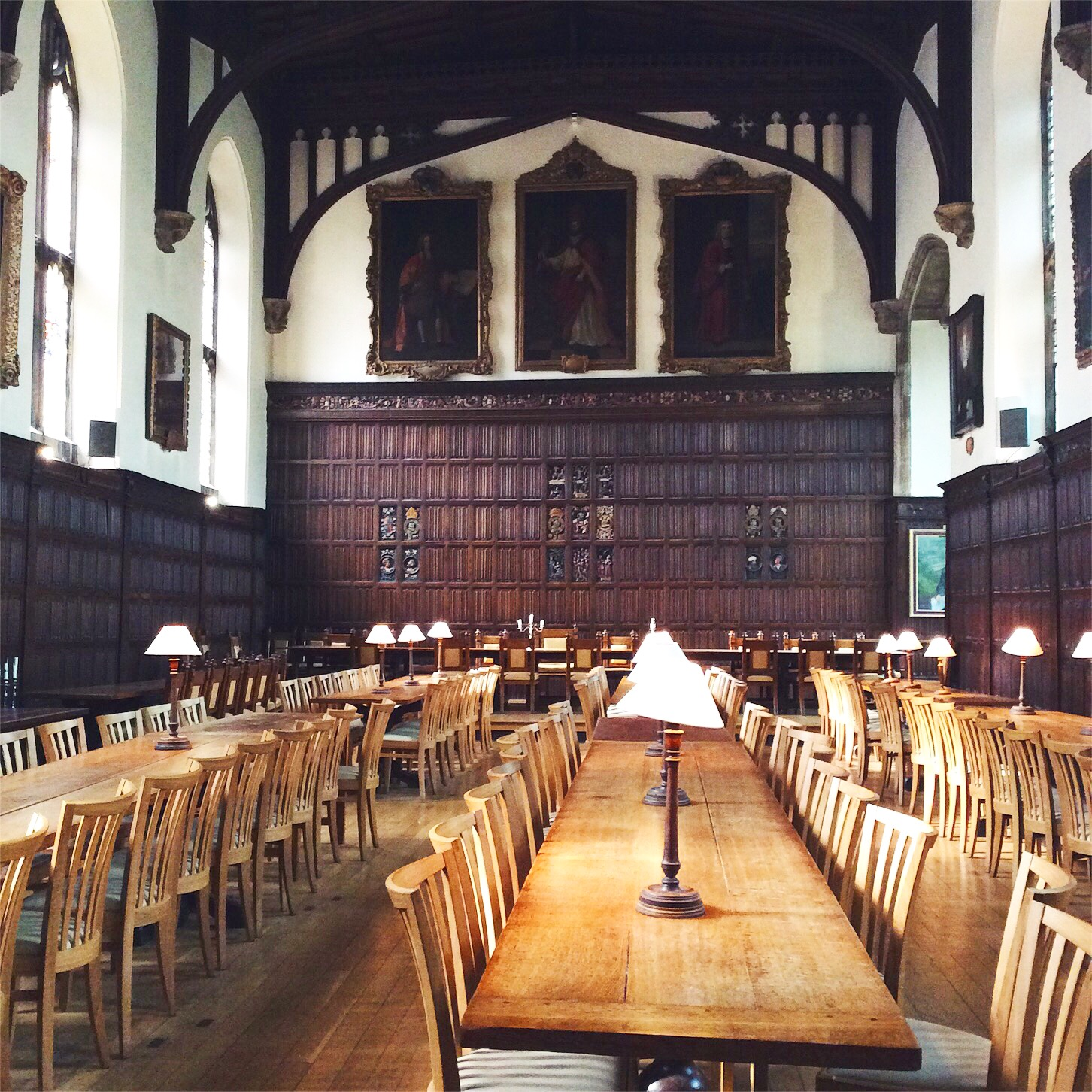 the dining hall at Magdalen college, Oxford