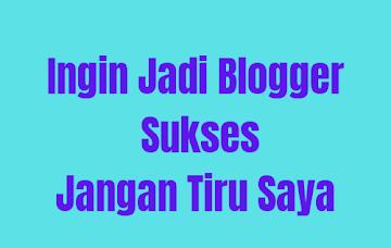 Kalau Mau Jadi Blogger Sukses Jangan Tiru Saya