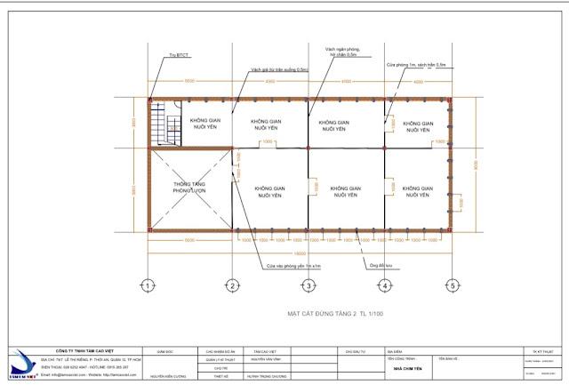 Thiết kế mặt cắt ngăn phòng nhà nuôi yến 8x18x3 tại Tri Tôn An Giang