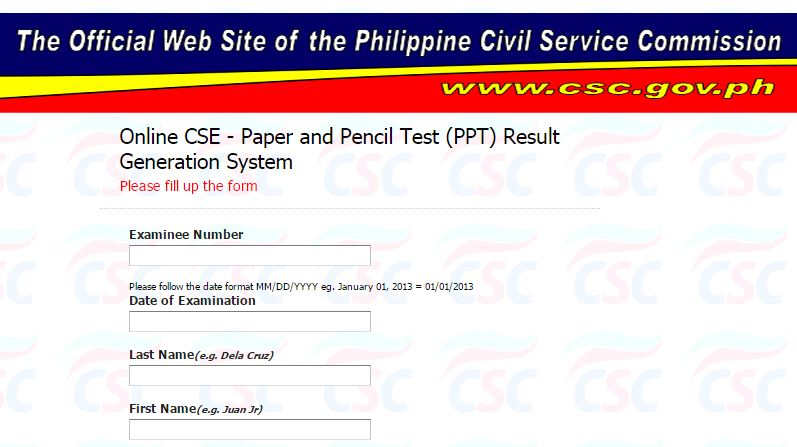 Verification of rating for October 2016 Civil Service Exam online