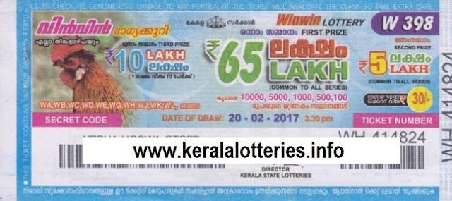 Kerala lottery result of Winwin-W-399