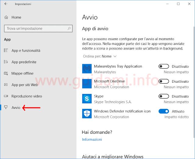 Impostazioni App di avvio Windows 10 April 2018 Update