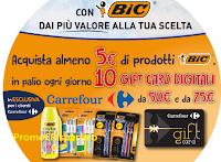 """Logo Concorso """" Con BIC puoi vincere una card Carrefour al giorno """"  110 premi in tutto"""