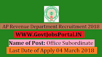 Andhra Pradesh Revenue Department Recruitment 2018 – Office Subordinate, Watchman/ Chowkidar
