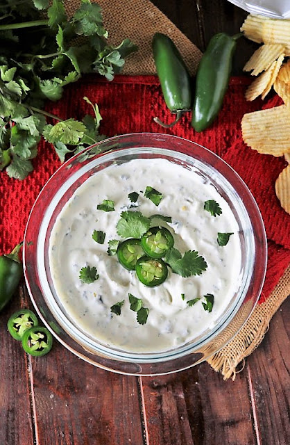 Jalapeno Ranch Dip Garnished with Cilantro and Jalapeno Slices Image