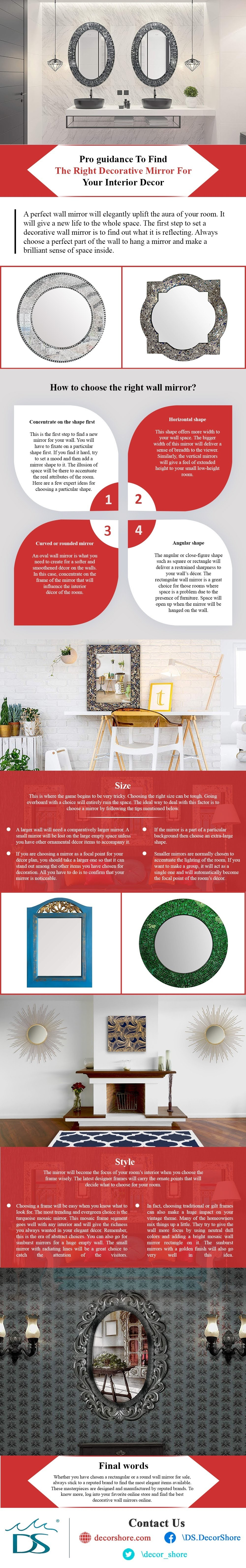 Pro Guidance To Find The Right Decorative Mirror For Your Interior Decor #infographic