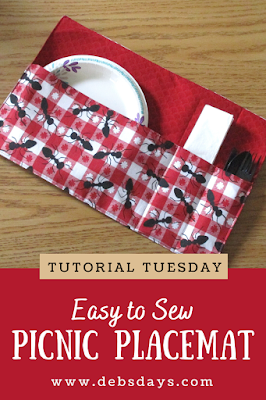Easy Picnic Placemat with Pockets Sewing Project