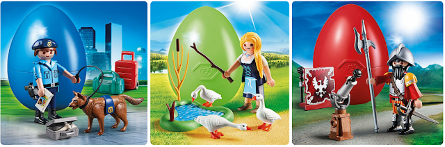 The other sets of PLAYMOBIL Easter Eggs you can get. Policeman, maiden and knight.