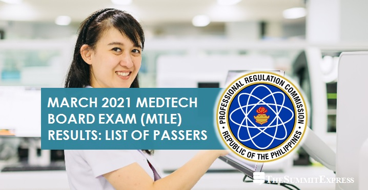 MTLE RESULTS: March 2021 Medtech board exam list of passers, top 10