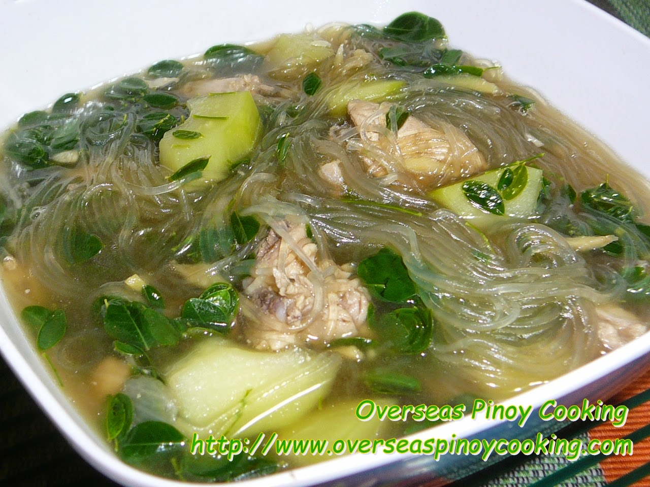 Tinolang Manok with Malungay at Sotanghon