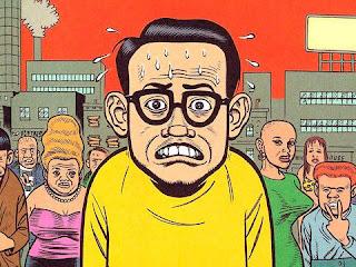 caricatura hombre asustado o presionado