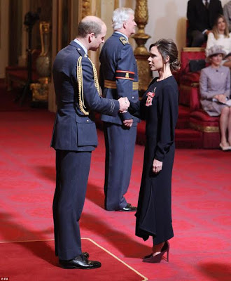 Photos: Victoria Beckham receives an Order of the British Empire (OBE) for her contribution to fashion