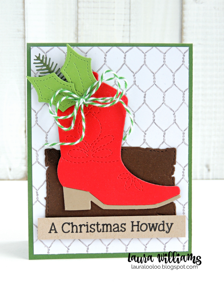 The best part about this new cowboy boot die is that it looks absolutely darling on country Christmas cards and crafts (plus doubles as a tag) but it's also a die you'll use all year long on a variety of cowboy or country themed cards. I LOVE products that are versatile and cute for a variety of occasions! For today's first card, I dressed up the boot with some holiday greenery and added a Christmas sentiment.