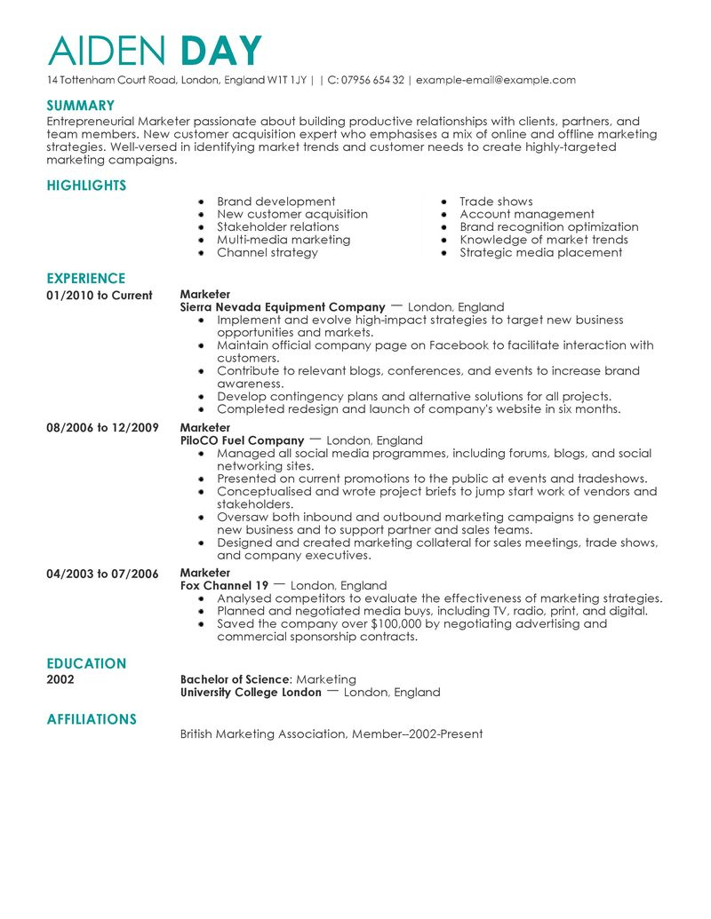 sample marketing resume