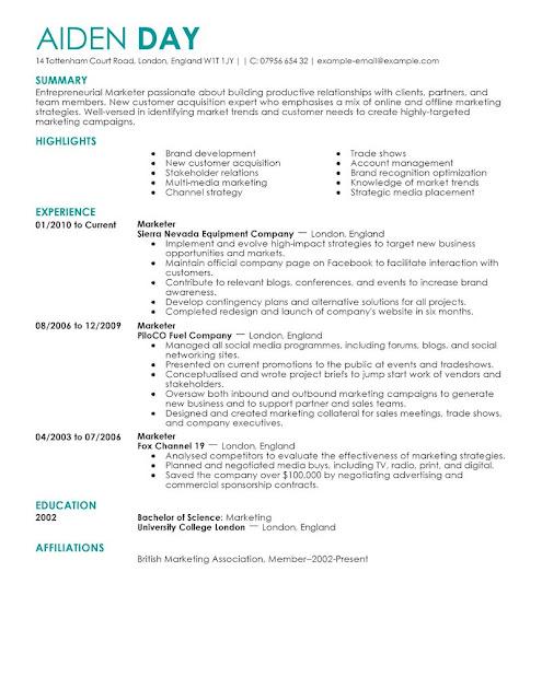 Sample Marketing Resume Sample Resumes