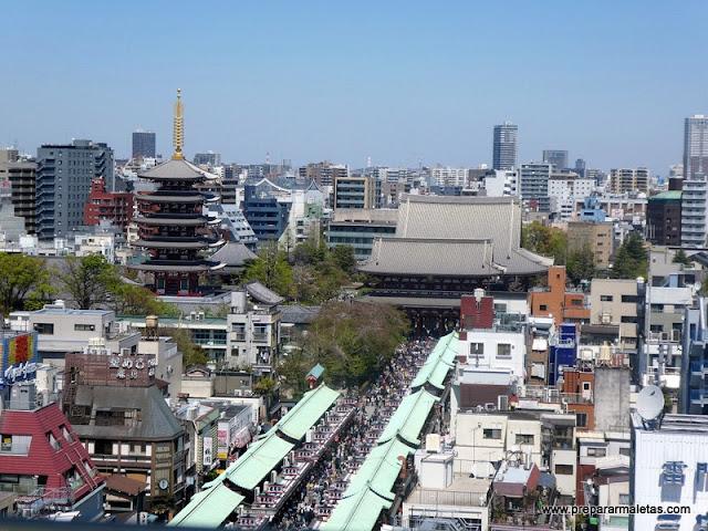templo senso-ji en Tokio, vista