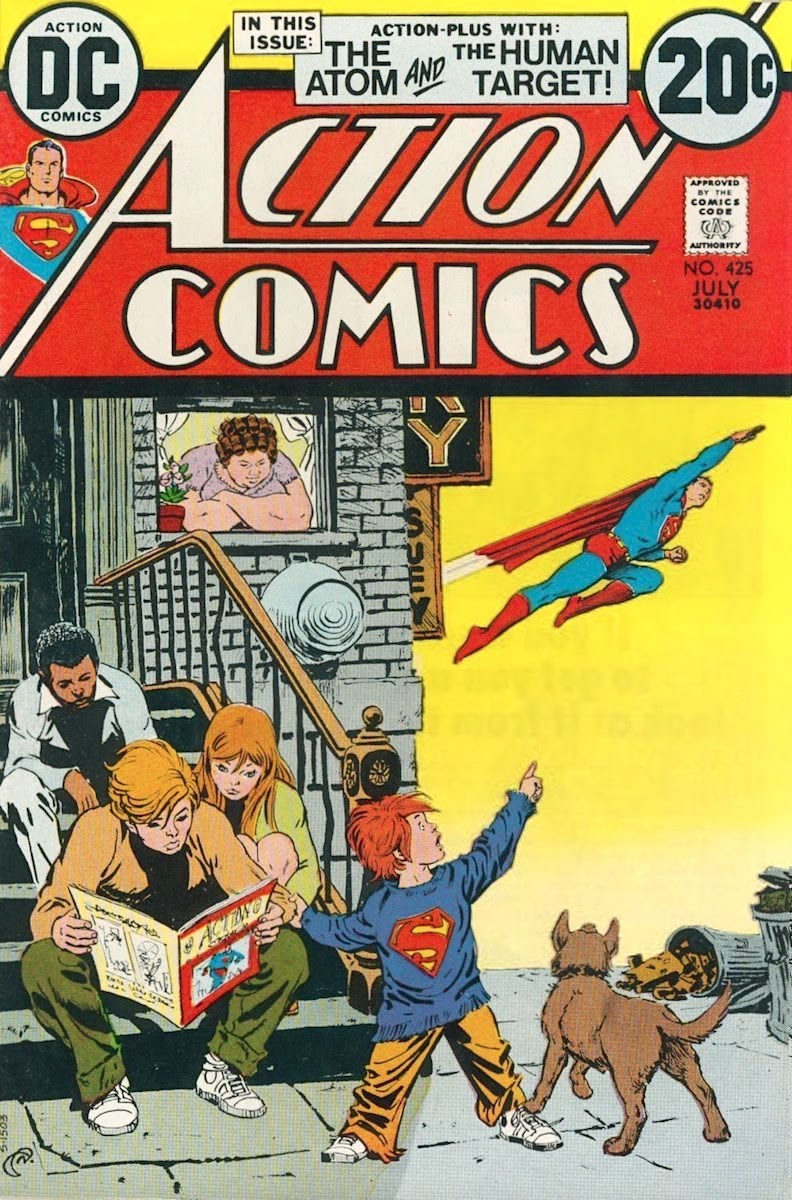 Kids sitting on townhouse stoop reading a copy of Action Comics as one of them points towards Superman flying above