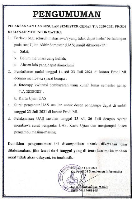 PENGUMUMAN PELAKSANAAN UAS SUSULAN T.A. GENAP 20/21