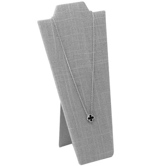 #CD-6710N-N21 Necklace Easel Display, Gray Burlap Linen