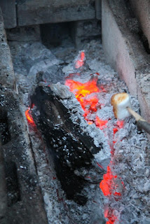 Roasting marshmallow close up