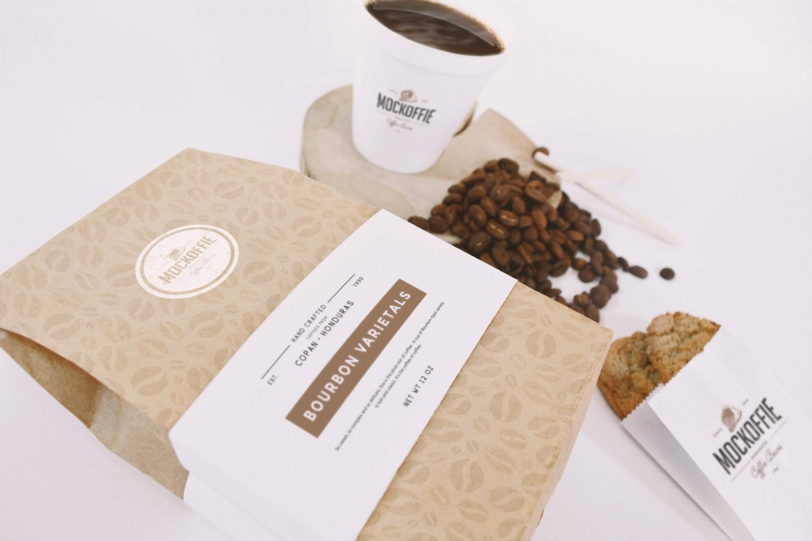 Coffee Bag and Cup Perspective Mockup