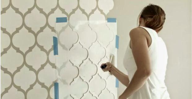 Manualidades preferidas y m s como pintar la pared con - Plantillas decorativas pared ...