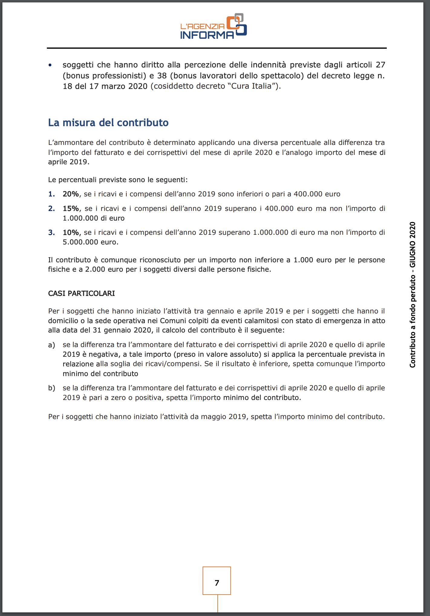 Contributo a Fondo Perduto Partite IVA 1.000 euro per Coronavirus