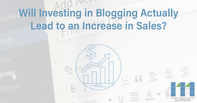 "Wordpress New Blog Post page with text that says, ""Will Investing in Blogging Actually Lead to an Increase in Sales."""