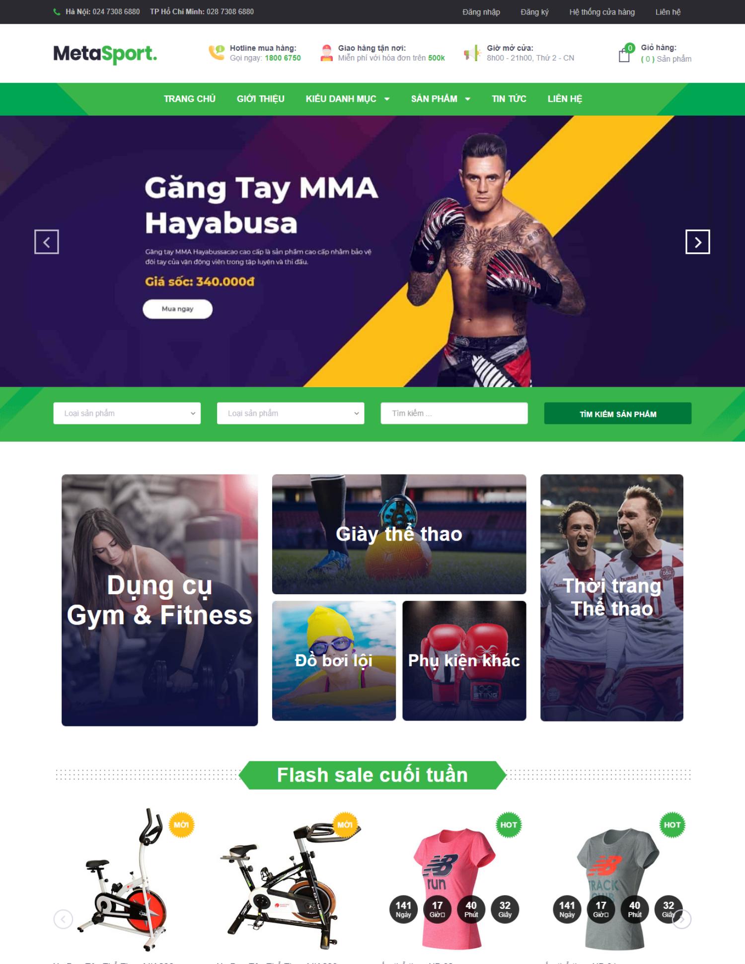 Theme blogspot bán hàng phụ kiện thể thao (VSM24)