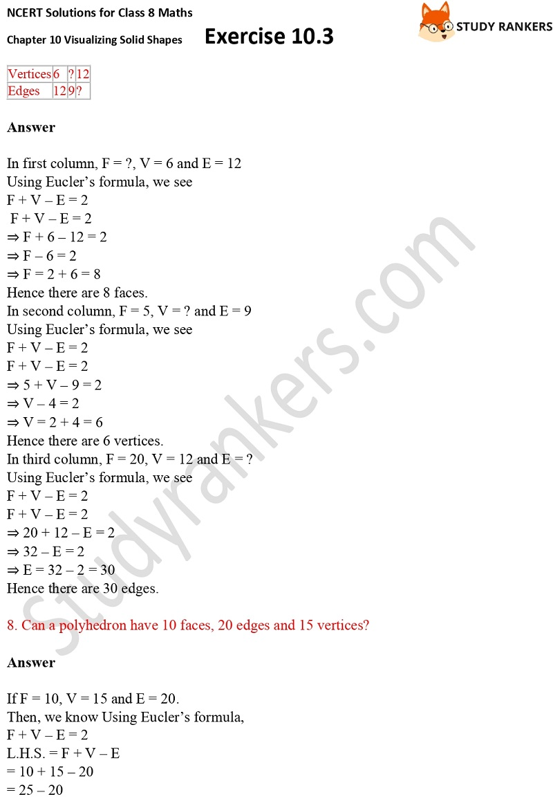 NCERT Solutions for Class 8 Maths Ch 10 Visualizing Solid Shapes Exercise 10.3 3