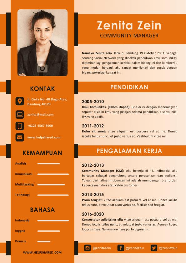 Contoh CV Lamaran Kerja Kreatif Curriculum Vitae