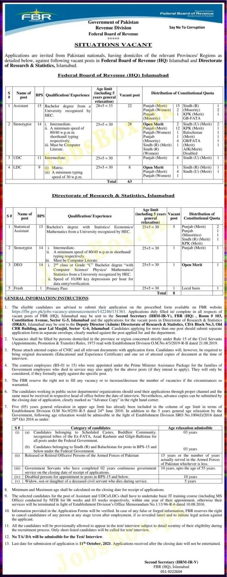 FBR Jobs 2021 - FBR Federal Board of Revenue Jobs 2021 in Pakistan