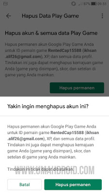 Hapus Data Google Play Games