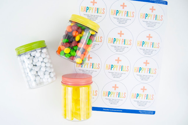 """Happy Pills"" jar tutorial by Jen Gallacher for www.jengallacher.com #happypills #candycraft #craftblogger #averylabels #jengallacher"