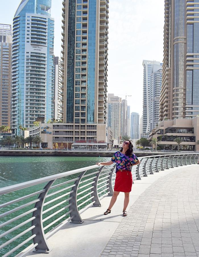 Dubaj Marina i bluzka uszyta z wykroju Burda Szycie krok po kroku 01/2018