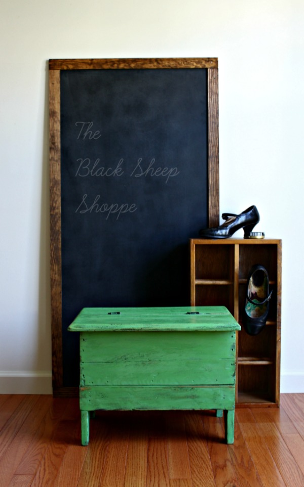 Vintage shoe shine box painted in Antibes Green.
